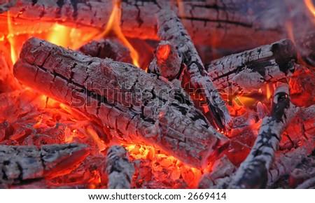 Hot embers #2 - stock photo