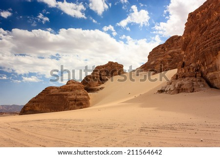 Hot, empty sandy desert in the middle east - stock photo