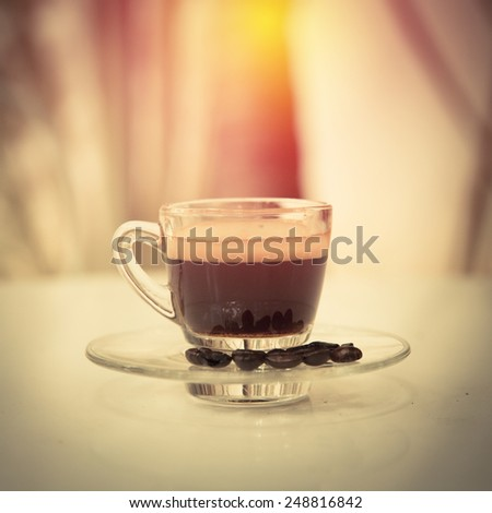 Hot espresso coffee. Vintage filter. - stock photo