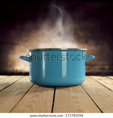 hot food in pot  - stock photo