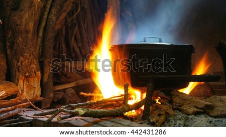 Hot food in rural kitchen. Hot pot on fire of burning wood