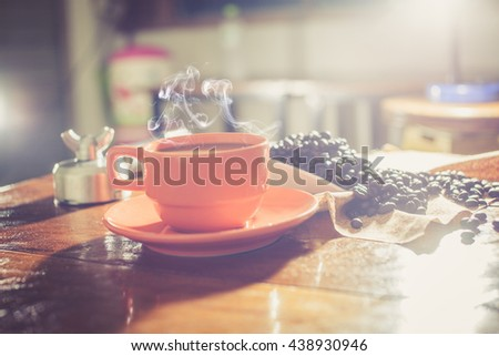 hot fresh coffee on desk - stock photo