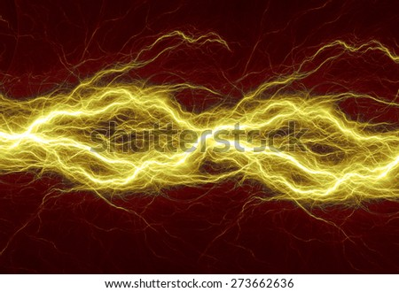 Hot golden lightning, burning electrical background - stock photo