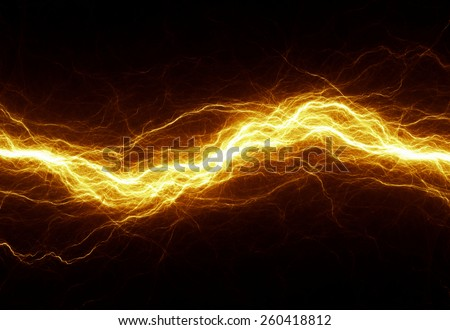 Hot golden lightning, electrical background
