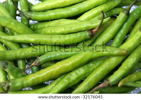 Hot, green chilli used to prepare spicy food