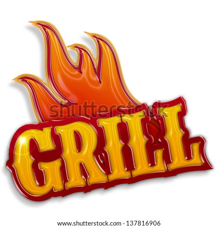 hot grill label isolated on white background - stock photo