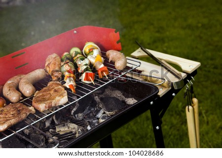 Hot grilling meat! - stock photo