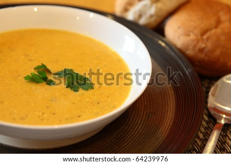 Hot Indian Chicken Soup in Bowl With Bread