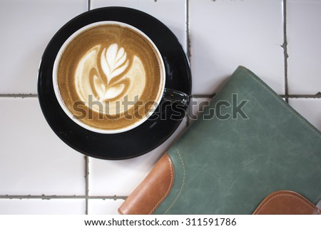 hot latte (top view) - stock photo