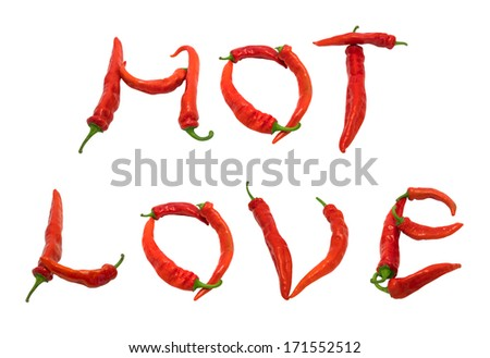 HOT LOVE text composed of red chili peppers. Isolated on white background. - stock photo