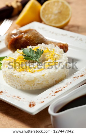 Hot Meat Dishes - Rice with Fried Chicken Legs