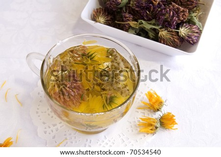 Hot medical herbal tea in a glass cup, close up - stock photo