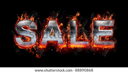 Hot metal letters on fire - stock photo