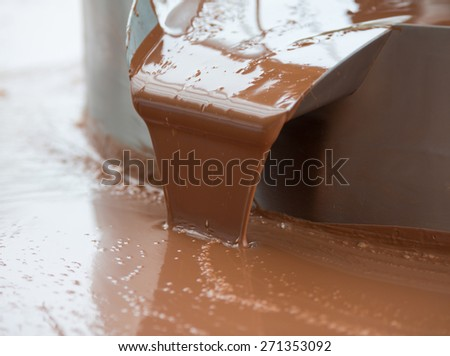 Hot milk chocolate flow or stream on factory - stock photo