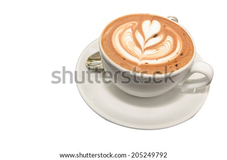 Hot Mocca Coffee with latte art in folwer shape - stock photo