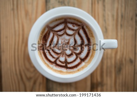 Hot mocha coffee in cup