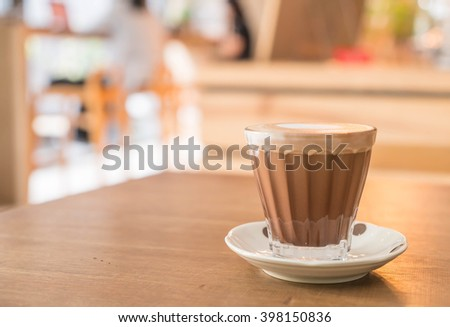 hot mocha coffee in shop - stock photo