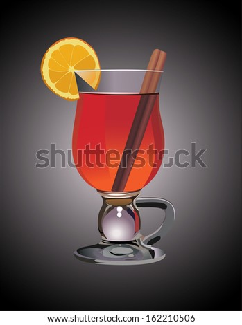 Hot mulled wine with orange slice and cinnamon sticks. - stock photo