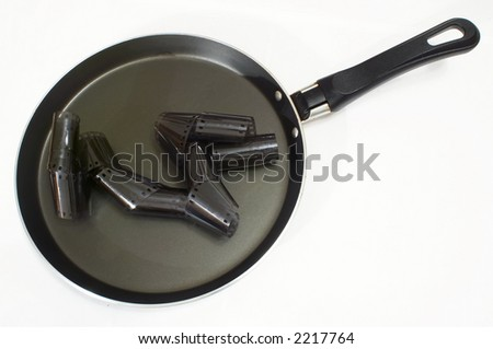 Hot news prepare on a frying pan - stock photo