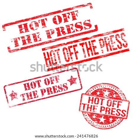 Hot off the press stamps stamps. Different shape rubber stamp illustrations  - stock photo