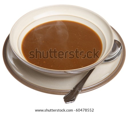 Hot oxtail soup with steam rising - stock photo