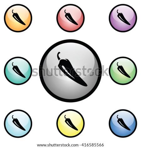 Hot Pepper Icon Glass Button Icon Set. Raster Version - stock photo