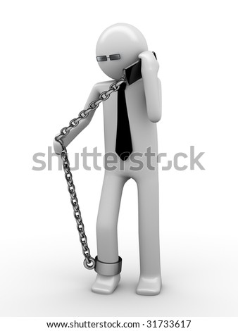Hot phone line! Man chained with mobile phone 2 - stock photo