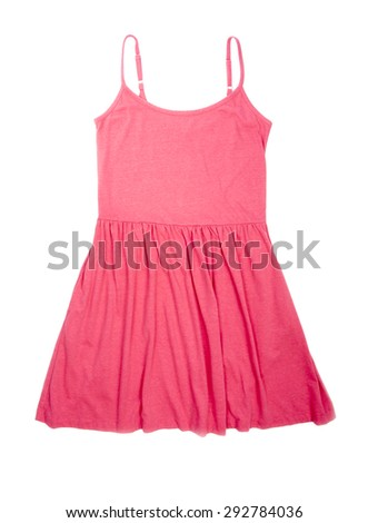 Hot Pink Flare Sun Dress Isolated on White - stock photo