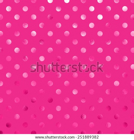 Hot Pink Metallic Foil Polka Dot Pattern Swiss Dots Texture Paper Color Background - stock photo