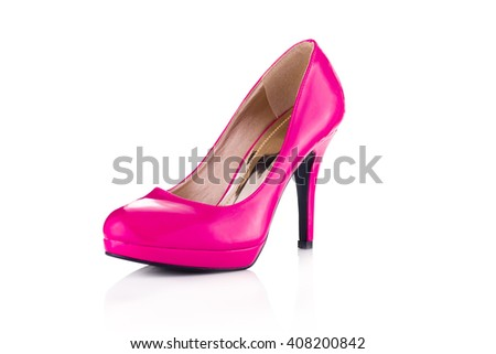 Hot pink single stiletto isolated on white background - stock photo