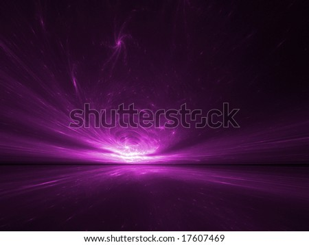 Hot Pink Stars Horizon - 3D fractal Illustration - stock photo