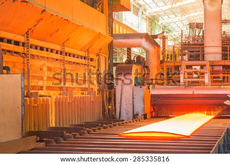 Hot plate are rolling in table, Hot plate view, Colorful of hot plate,  Industry steel - stock photo