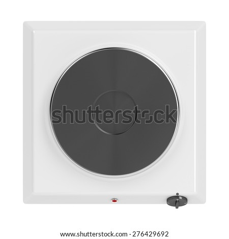 Hot plate isolated on white background, top view - stock photo