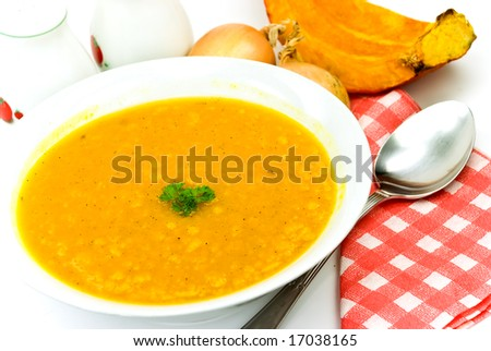 hot pot -soup-with ripe,baked pumpkin,mixed vegetables,spices - stock photo