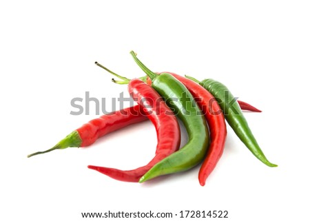 Hot red and green chili pepper isolated on a white background