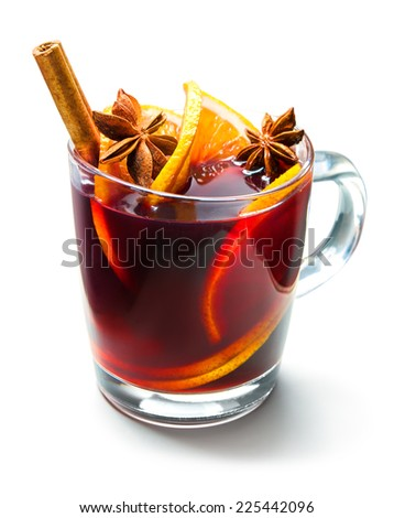 Hot red mulled wine isolated on white background - stock photo