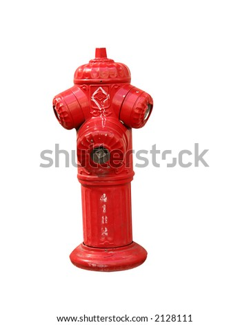 Hot red water source for the firemans:valves.Isolated on white - stock photo