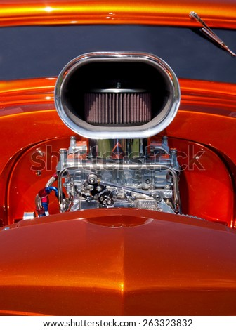 hot rod automobile with supercharger