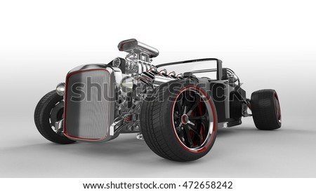 Hot Rod Isolated on White3D Rendering
