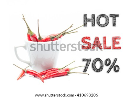 Hot Sale 70% words written on white background with cup of chillies - stock photo