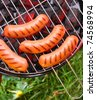 Hot sausages on barbecue - stock photo