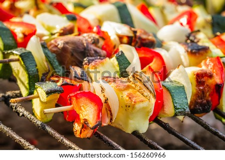 Hot skewers on the grate - stock photo
