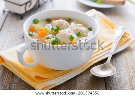 Hot soup with meatballs, potatoes and carrots - stock photo