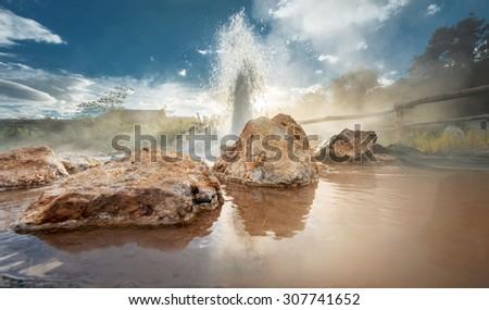 Hot spring (Geyser) at Ban Muang Rae village, Pai, Maehongson, Thailand - stock photo