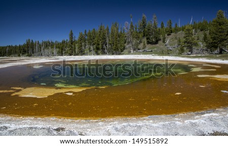 Hot spring pool in Yellowstone National Park, USA - stock photo