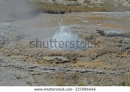 Hot Springs and bacterial mats at Yellowstone Park - stock photo