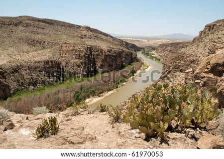 hot springs canyon and rio grande river - stock photo