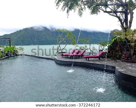 Hot springs pool beside Batur lake, Kintamani, Bali, Indonesia.