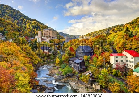 Hot springs resort town of Jozankei, Japan in the fall. - stock photo