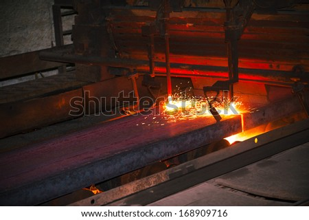 hot steel from oven - stock photo